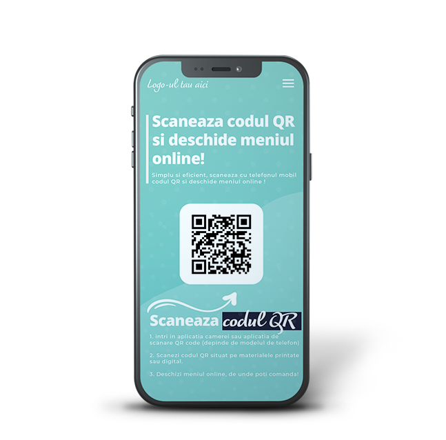 Creare QR code Alege cea mai sigura soluție pentru meniuri online cu accesare prin scanare QR Code cu ajutorul camerei foto a telefonului mobil. Meniuri online QR code mai eficiente Clienții tăi accesează meniul scanând codul QR de pe stickerul sau dysplay-ul din plexiglas aflat pe masă, cu ajutorul camerei telefonului.Crează-ți gratuit meniu digital cu scanare QR code! Siguranță maxima Accesând meniul online direct de pe dispozitivul clientului eviți contactul fizic cum se întâmpla în cazul unui meniu fizic, ce trebuie dezinfectat după fiecare client, pagina cu pagina.